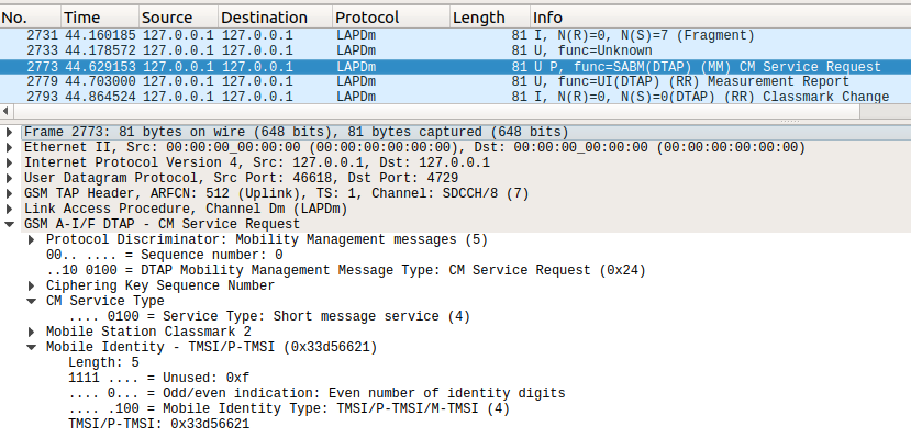 Wireshark GSM Example